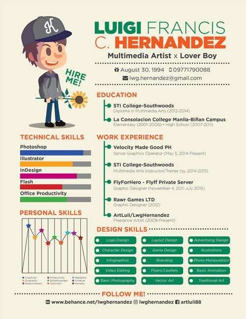 Creative Cool Resume Template For Multimedia Artist