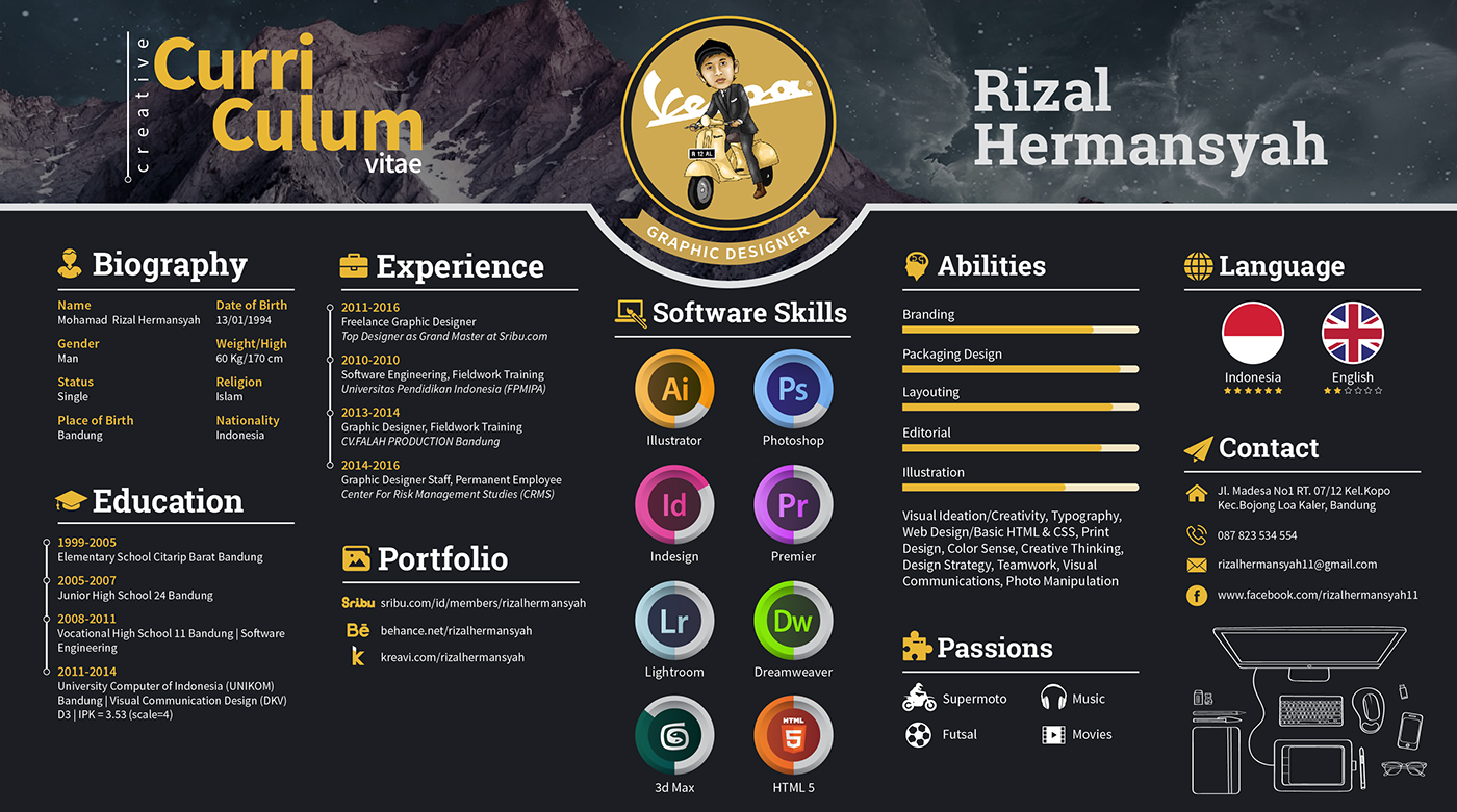 Creative Curriculum Vitae Resume Template Design For Inspiration  Resume Graphic Designer