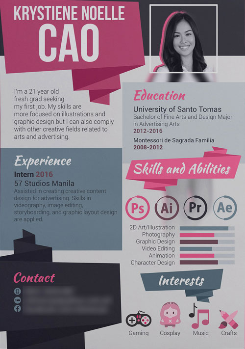 flat girly creative resume template - Creative Resume