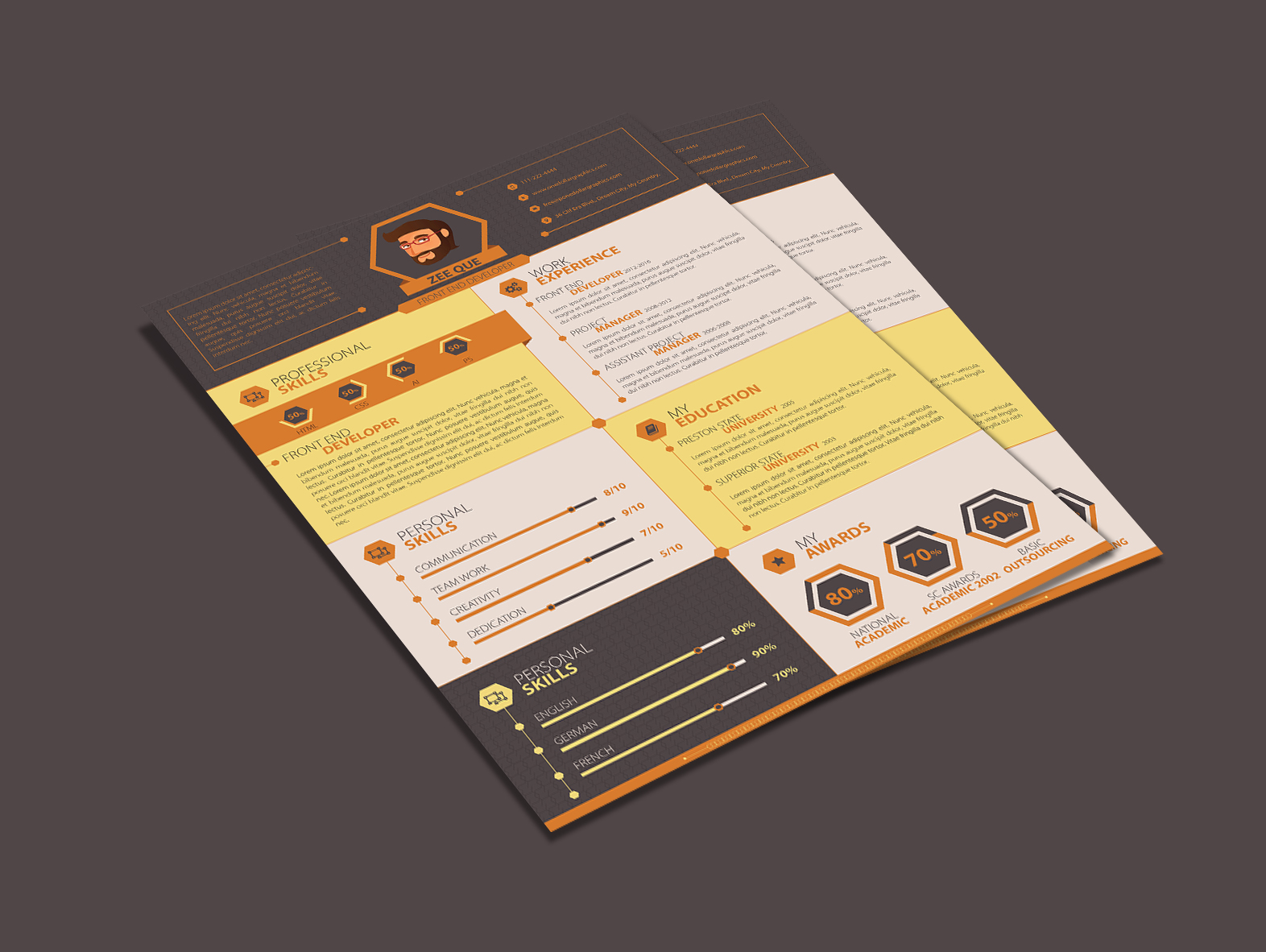 flat resume template design for web designer  u0026 developer