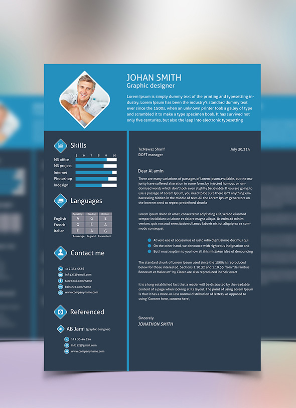 free 3 color flat resume template  u0026 cover letter for graphic designers