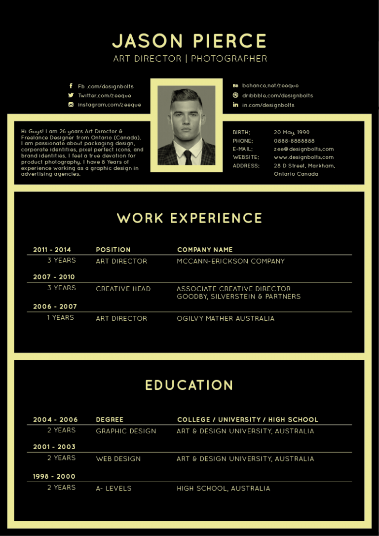 Free Black Elegant Resume CV Design Template for Art Director ...