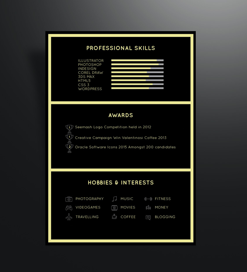 free black elegant resume cv design template for art