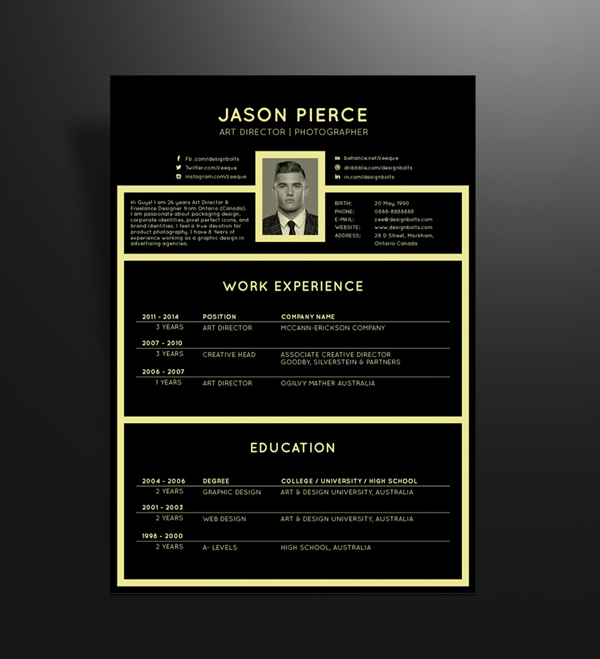 Free Black Elegant Resume Cv Design Template For Art Director