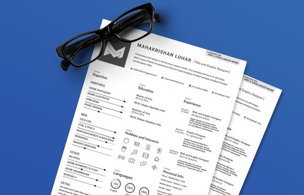 Free Clean & Minimal Resume Template For Graphic & Web Designers Ai File