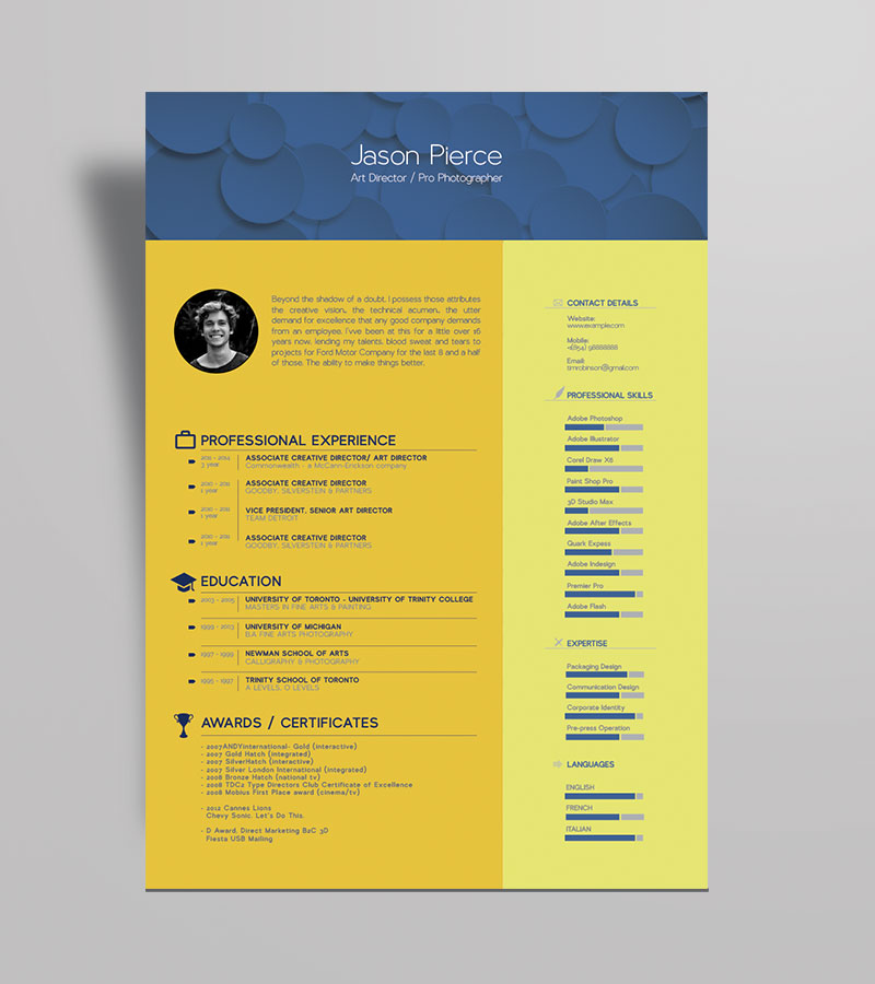 Free Beautiful Resume Template For Graphic Designer Art Director