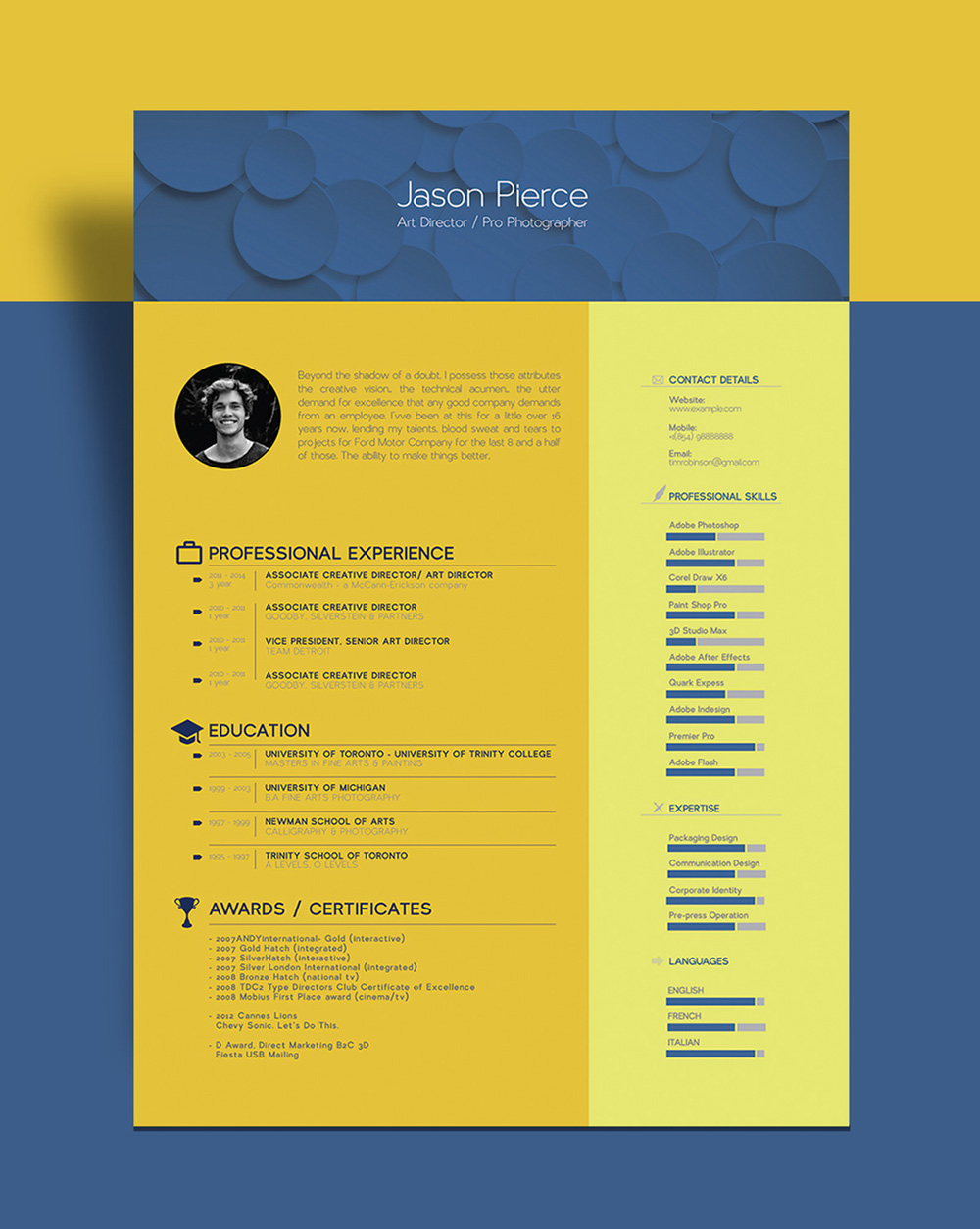 free beautiful resume  cv  template for graphic designer