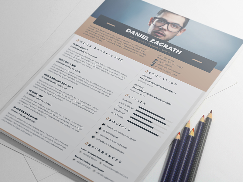 Free Resume Template For Ui Ux Web Graphic Designers