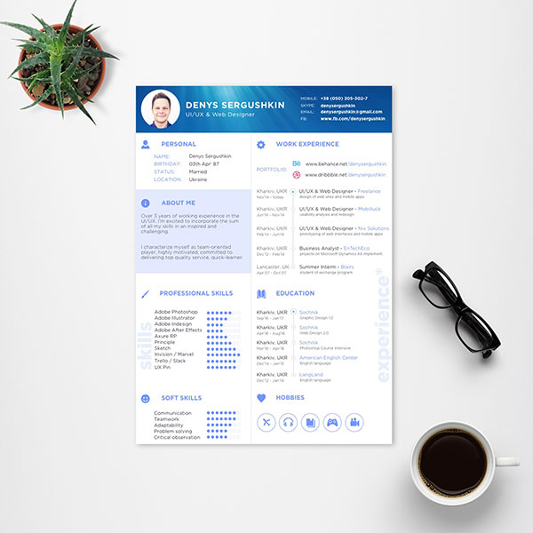 Free Resume Template For UI,UX U0026 Web Designers