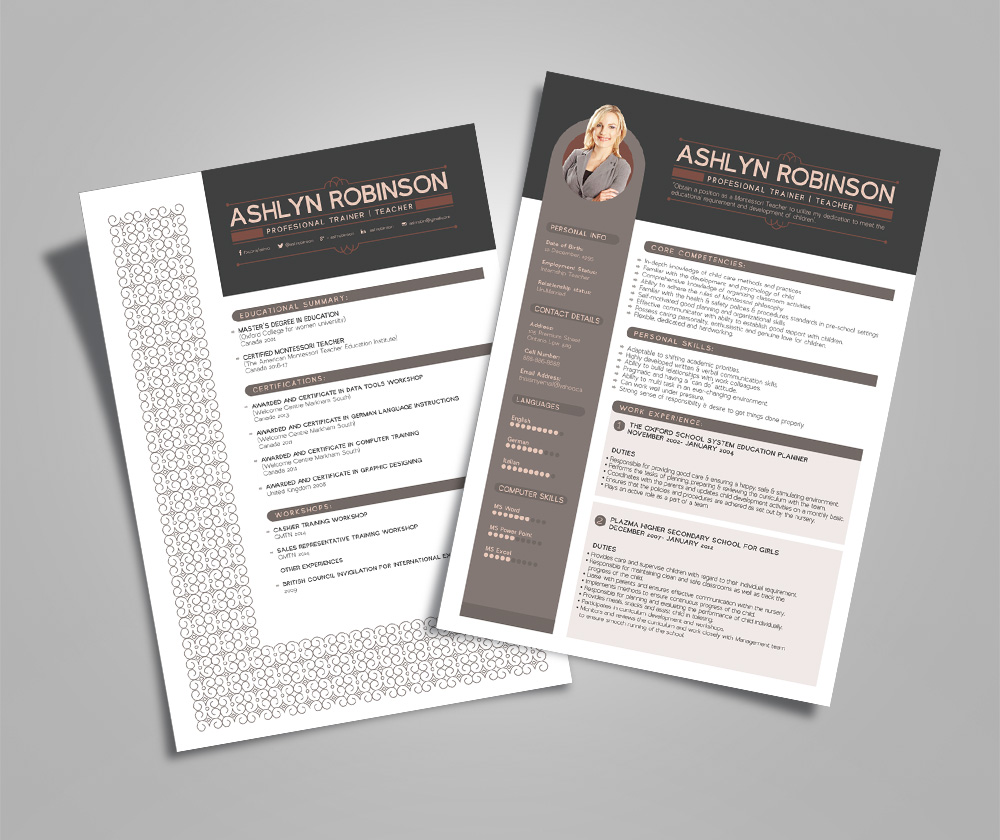 resume cv design template for trainers teachers good resume resume template for females