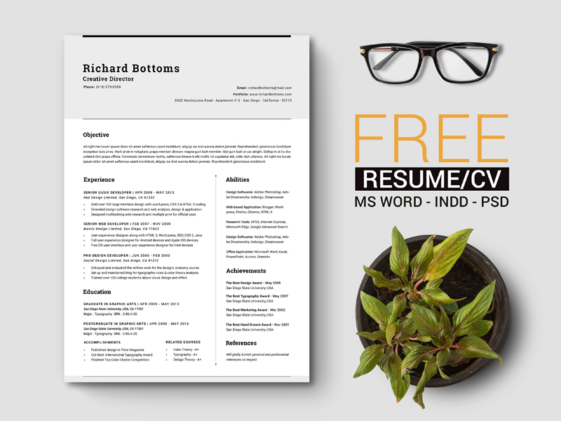 Free Simple Resume Template With Cover Letter For Creative Director Marketing IT Professionals
