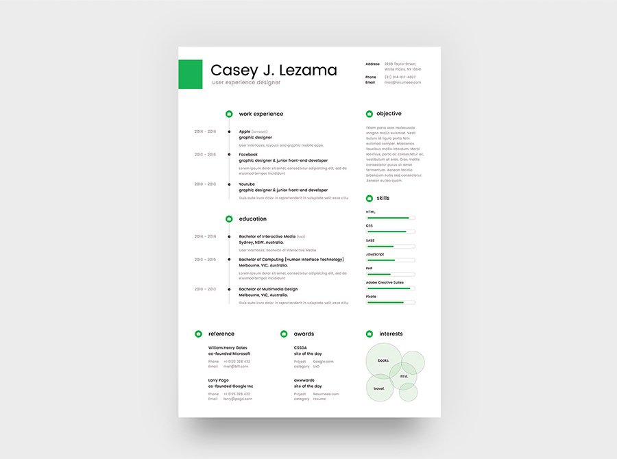 Free Simple Yet Elegant Resume Template For Graphic Designer  Front