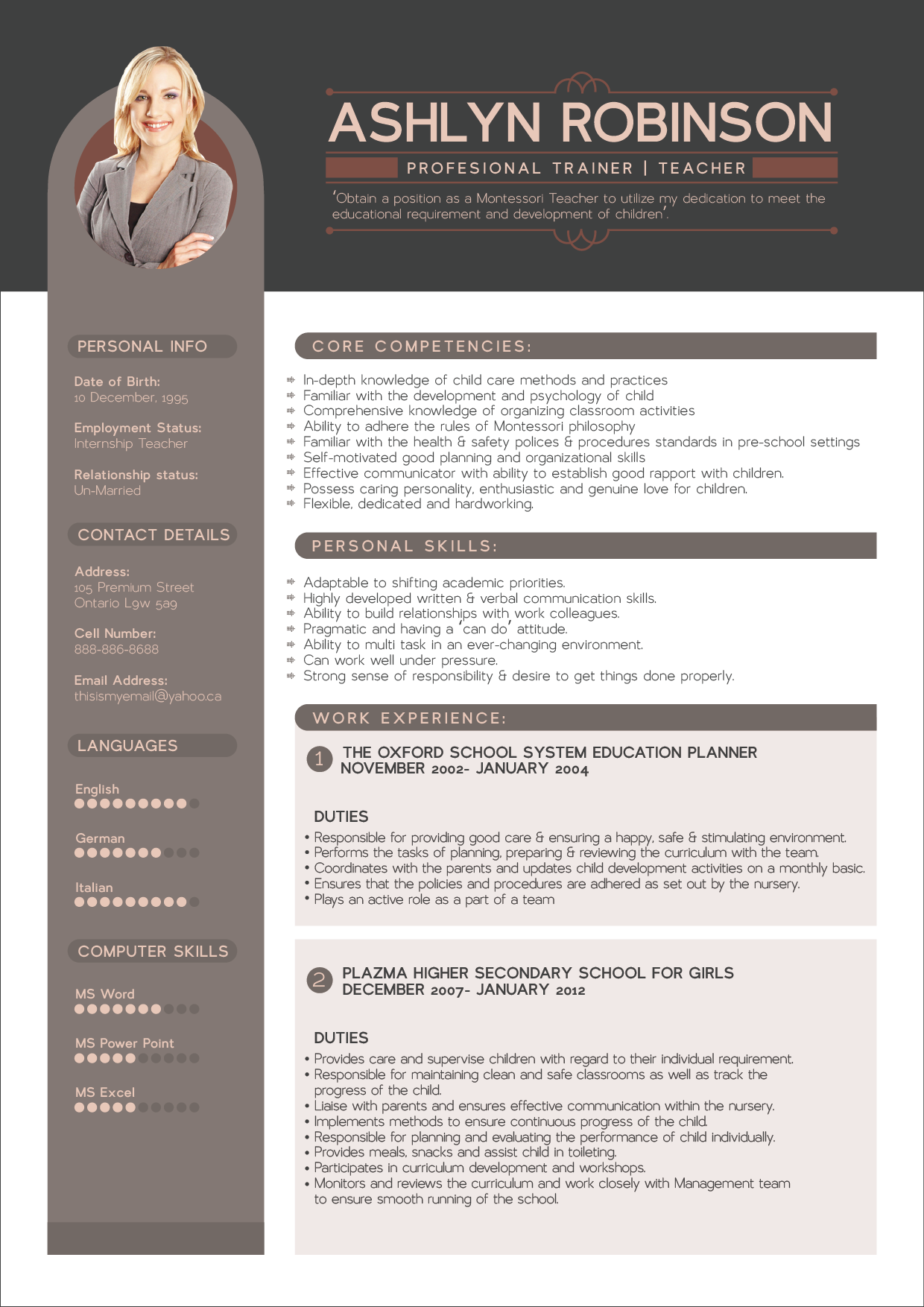 Free Resume Cv Design Template For Trainers Amp Teachers