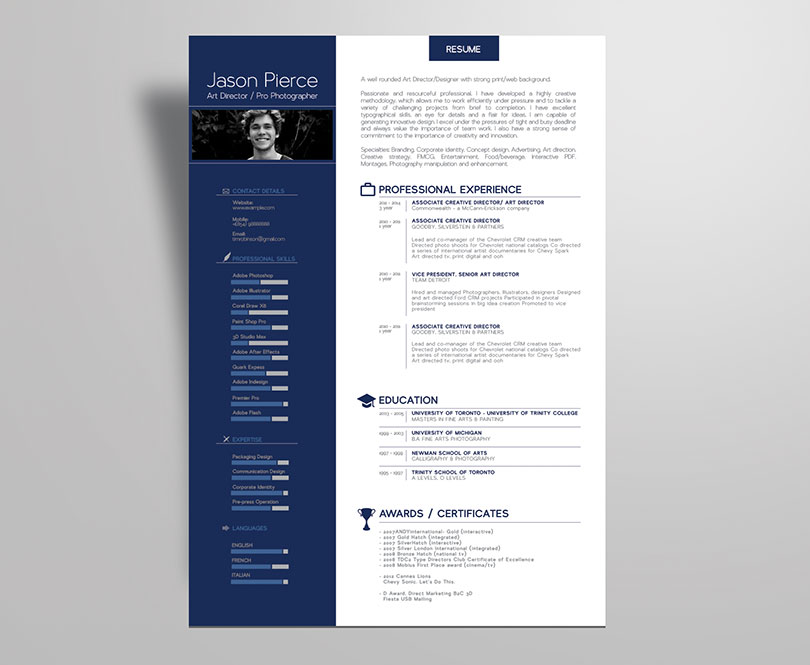 Simple Premium Resume (CV) Design, Cover Letter Template, 4 PSD Mock-Ups & 100 Resume Icons
