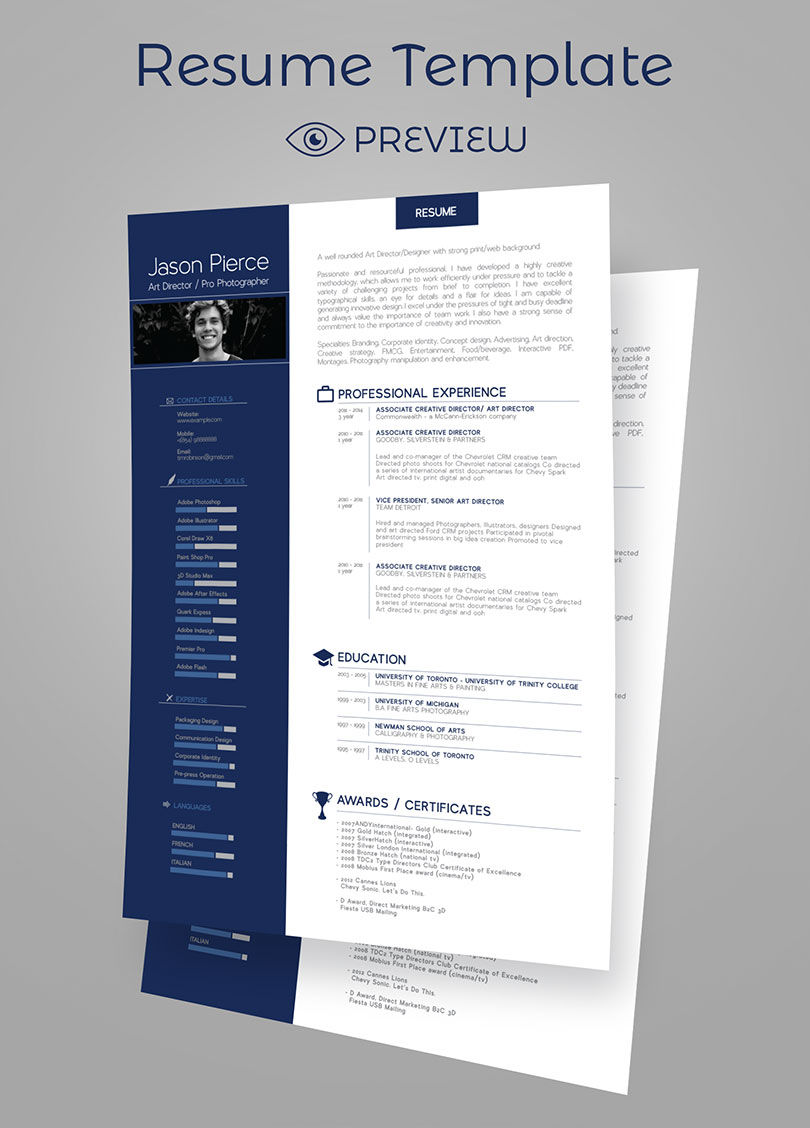 Simple Premium Resume Cv Design Cover Letter Template  Psd Mock