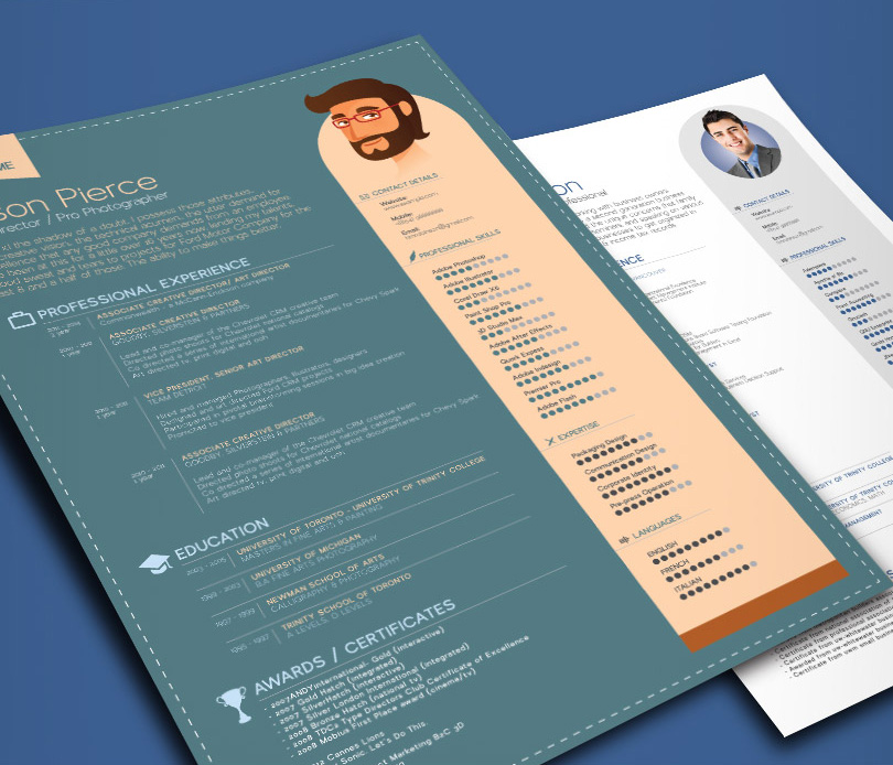 Simple Professional Resume Template In Ai, EPS, PSD, Word, CDR U0026 INDD  Format   Good Resume  Psd Resume Template