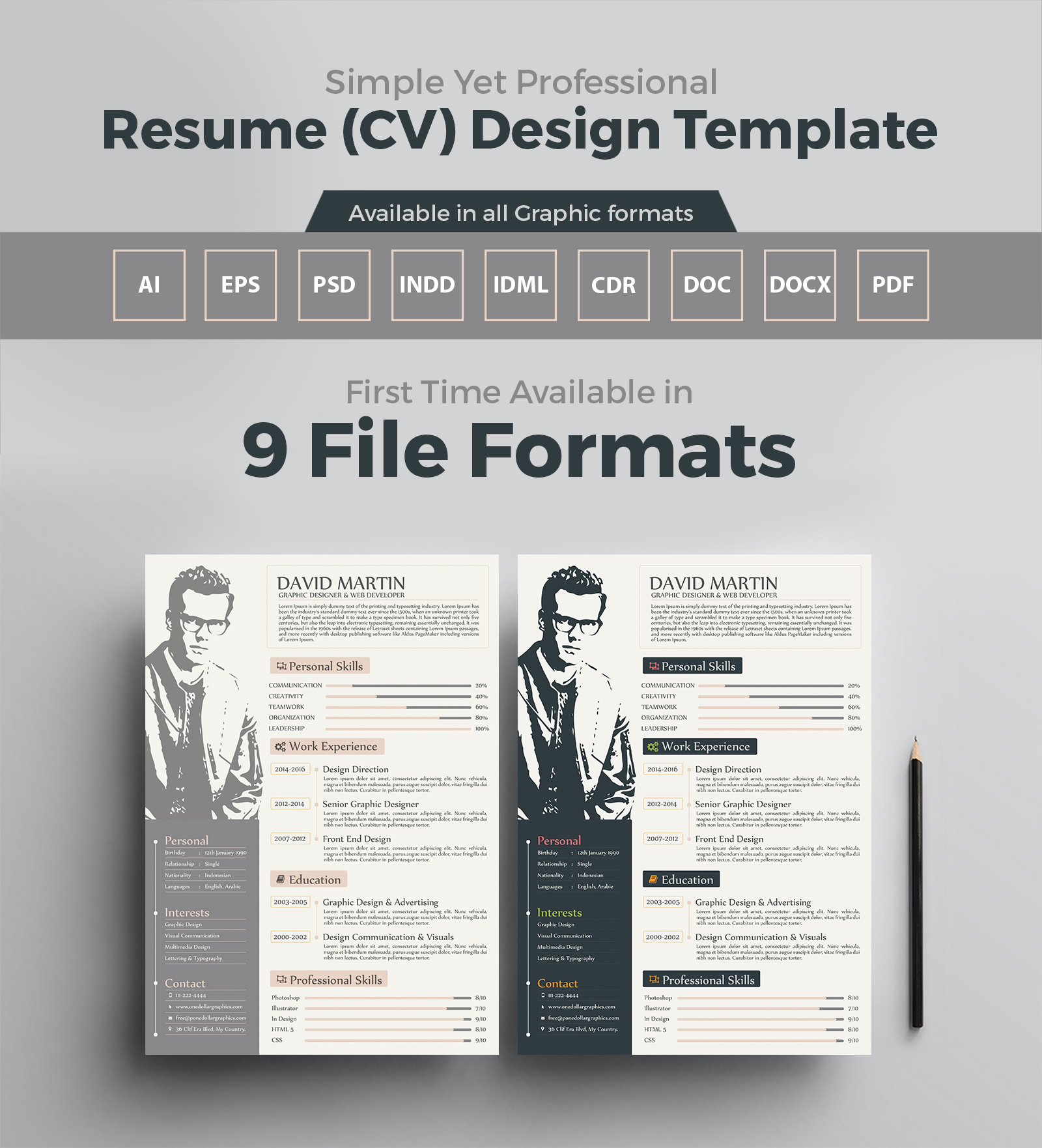 Simple yet professional resume cv design templates in ai eps psd pdf cdr doc docx indd for Microsoft word graphic design