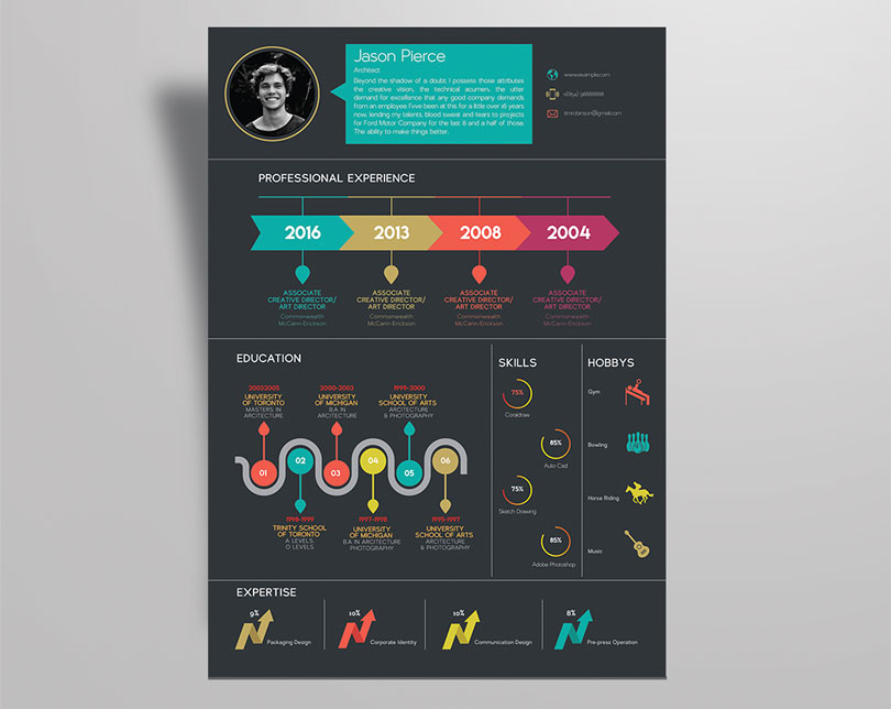 creative infographic resume design template with cover