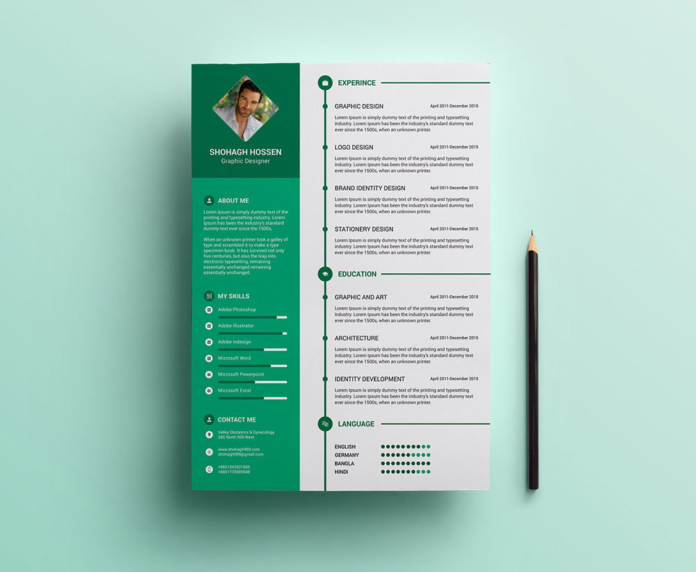 free clean resume design template in psd format