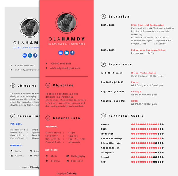 free clean simple minimal interactive resume design template for ui designer ux developer