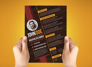 Free Creative Resume Design Template For Graphic Designer PSD File (1)