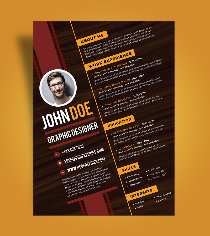Free Creative Resume Design Template For Graphic Designer PSD File (3)