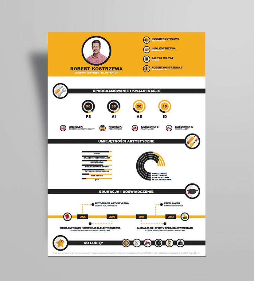 free infographic resume design template ai file