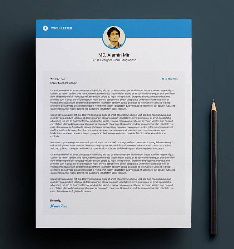 free cover letter template psd file