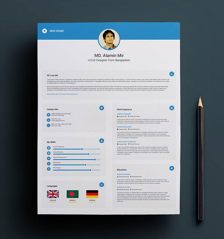 Free Simple Resume, Cover Letter & Business Card Design Template