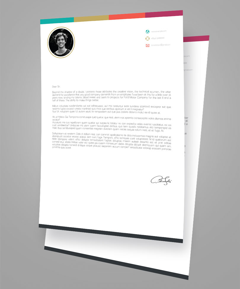 creative infographic resume design template with cover letter in psd