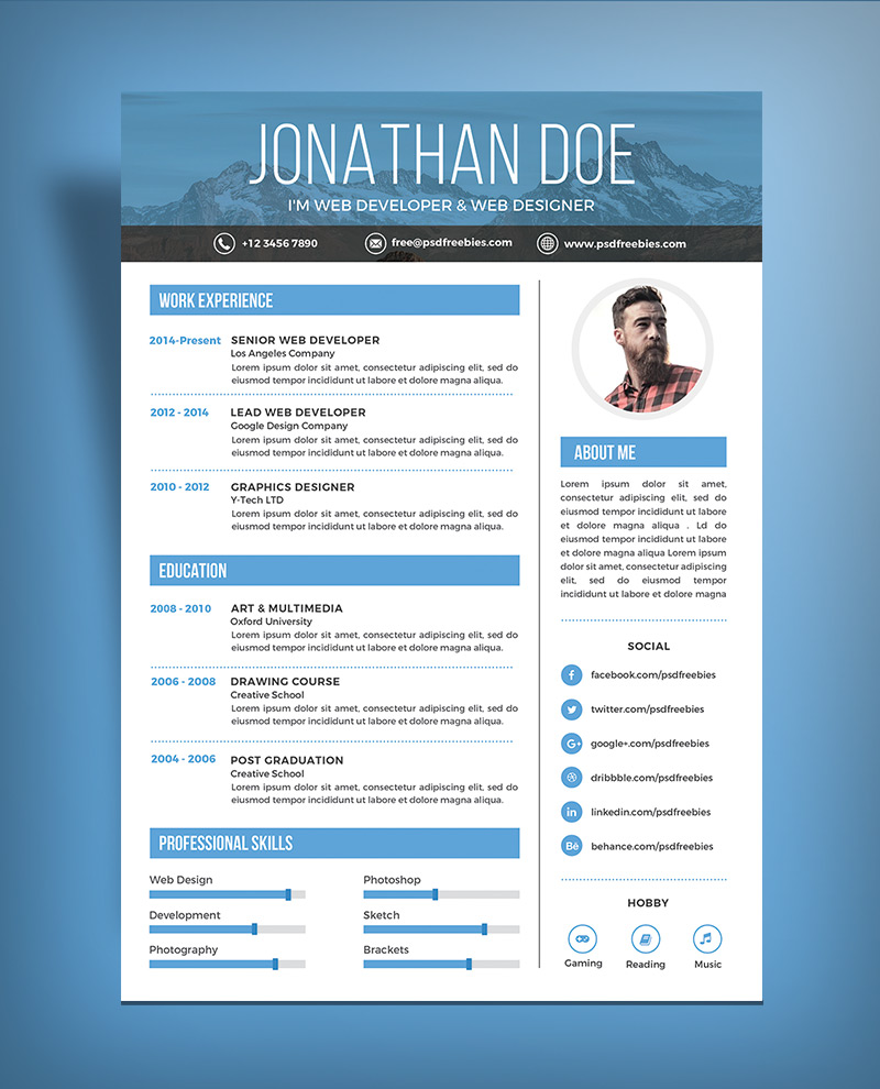 Free Simple Resume Design Template For Web Graphic Designer Psd