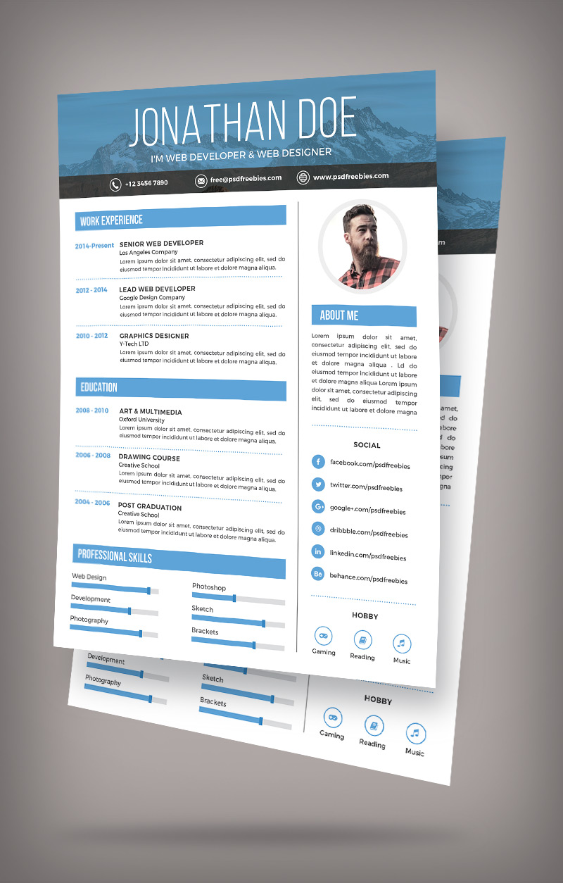 Simple Resume Design Template For Web Graphic Designer PSD File (2)