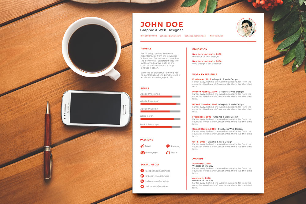 Clean & Minimal Resume (CV) Design Template Ai File (1)