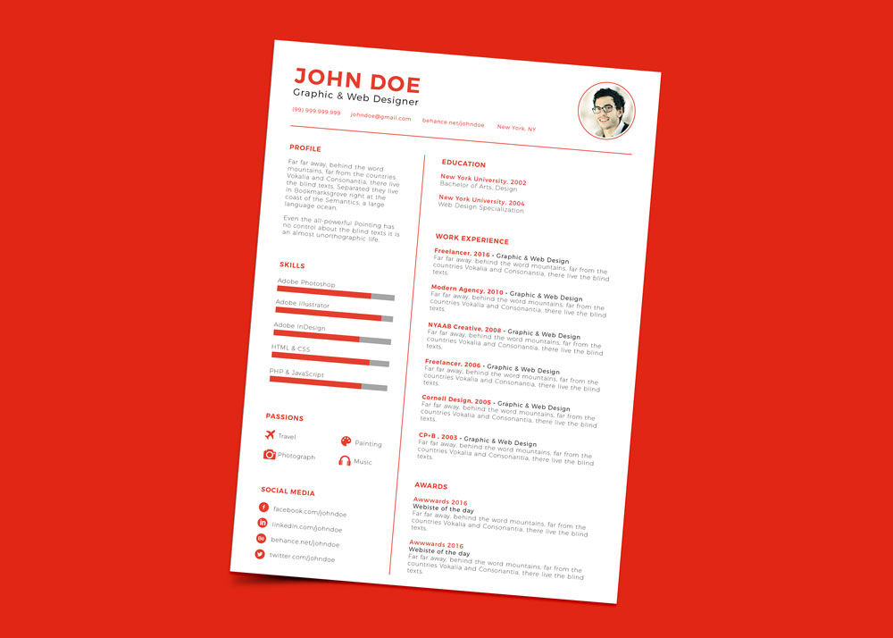 free clean minimal resume cv design template ai file good resume. Black Bedroom Furniture Sets. Home Design Ideas
