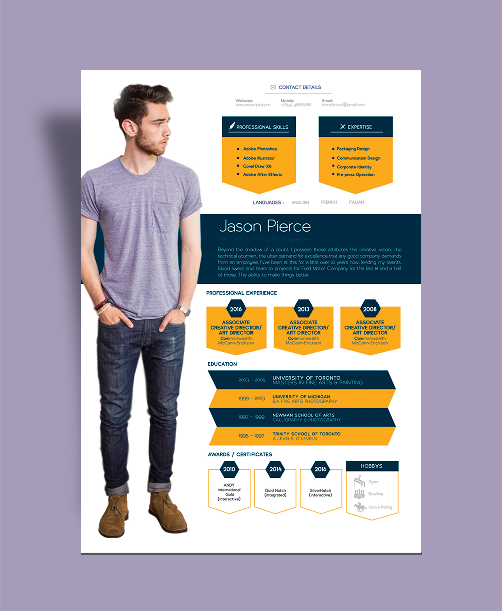 Creative Resume (CV) Design, Cover Letter Template, 4 PSD Mock-Ups & 100 Resume Icons (1)