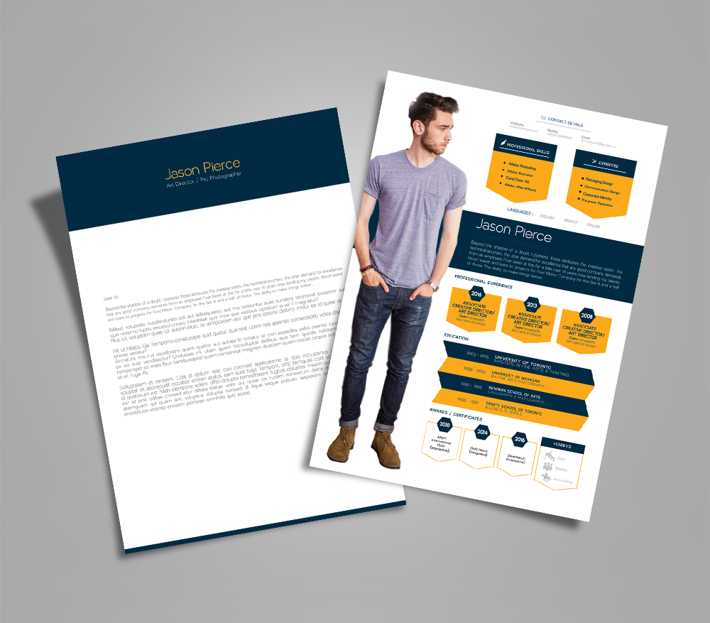 Creative Resume (CV) Design, Cover Letter Template, 4 PSD Mock-Ups & 100 Resume Icons (4)