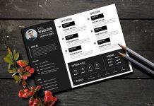 Free Black Landscape Resume (CV) Design Template PSD File (1)