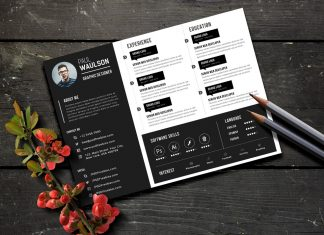 Free Black Landscape Resume (CV) Design Template PSD File (1)