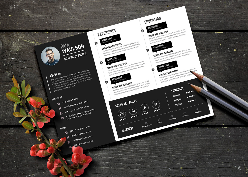 free black landscape resume cv design template psd file