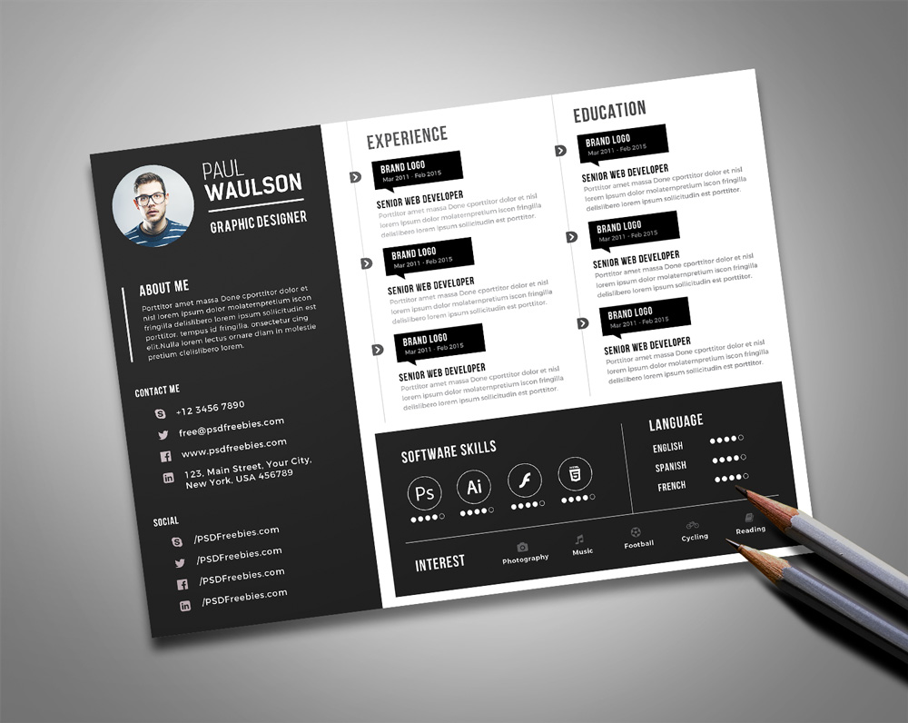 Free Black Landscape Resume Cv Design Template Psd File Good