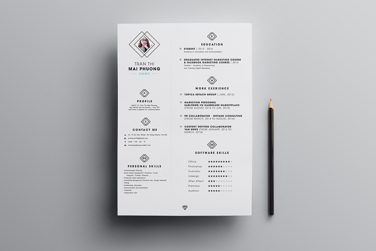 free clean resume  cv  design template psd file