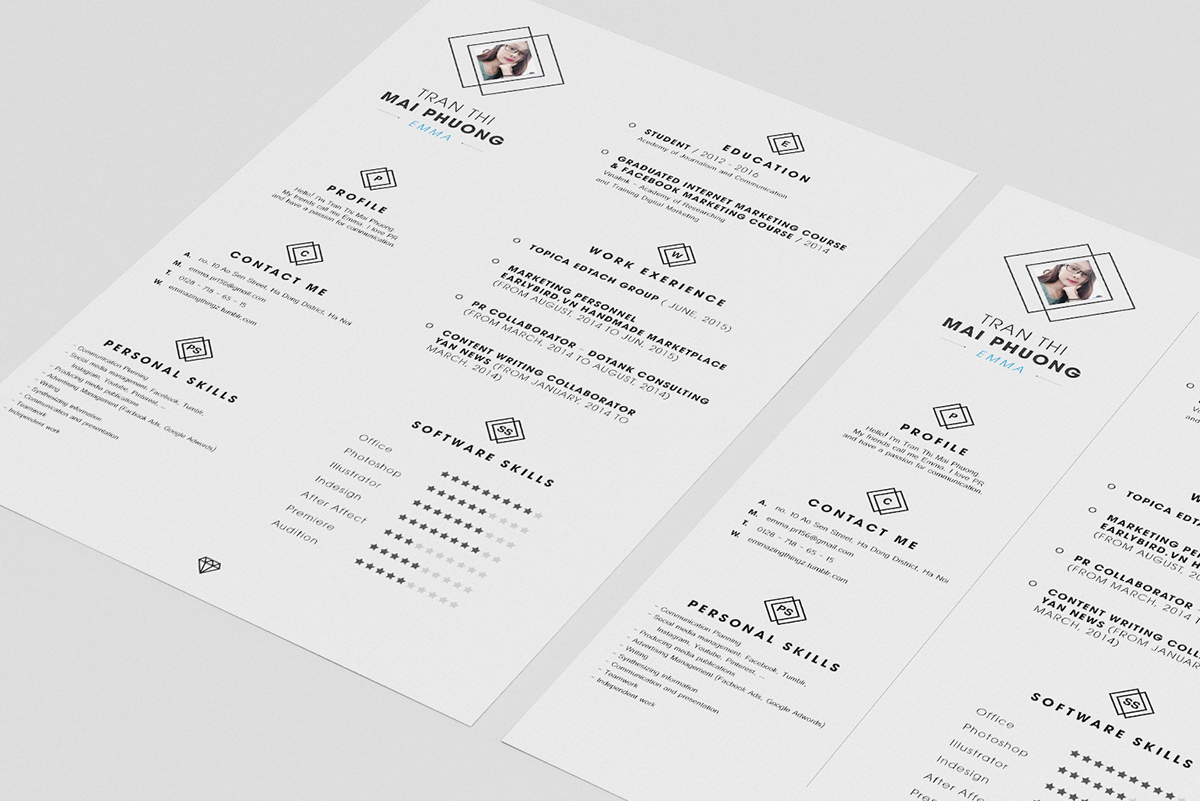 Free Clean Resume (CV) Design Template PSD File (2)