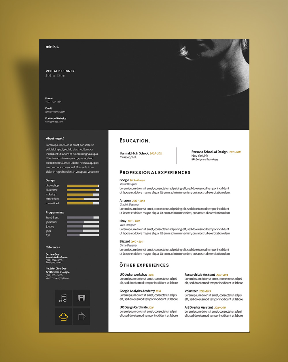Free Curriculum Vitae Cv Design Template For Designers Psd File