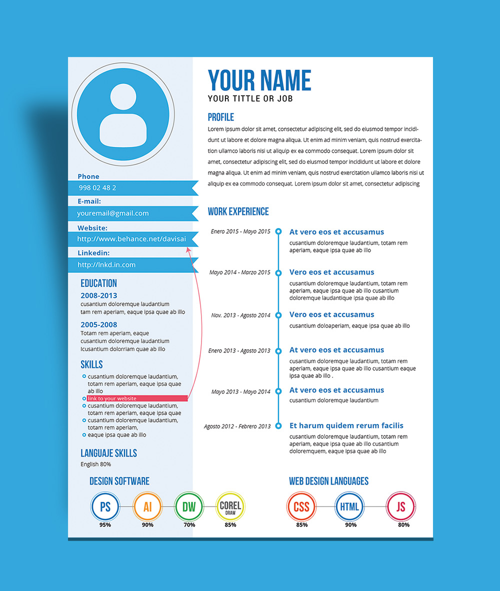 free fresh creative resume cv template design ai file - Resume Template Design