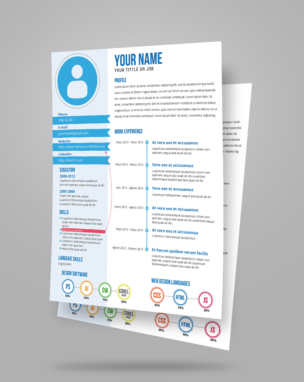 free fresh creative resume  cv  template design ai file