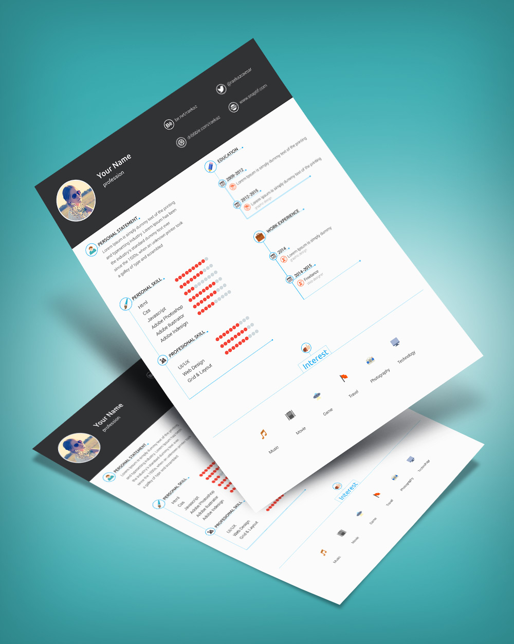 Free Minimal & Clean Resume Template PSD File (3)