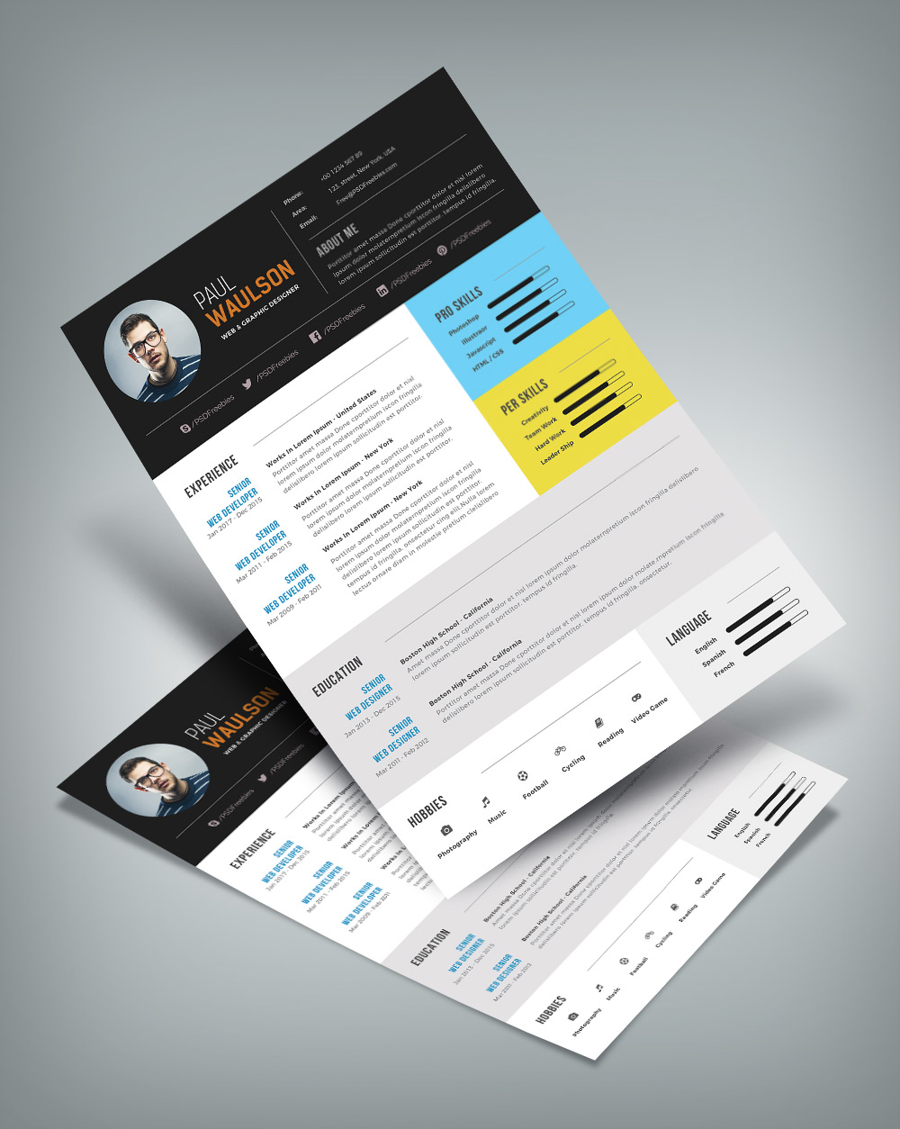 free modern resume template for web graphic designer psd file