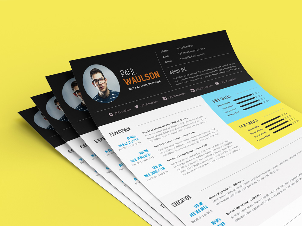 free modern resume template for web    graphic designer psd