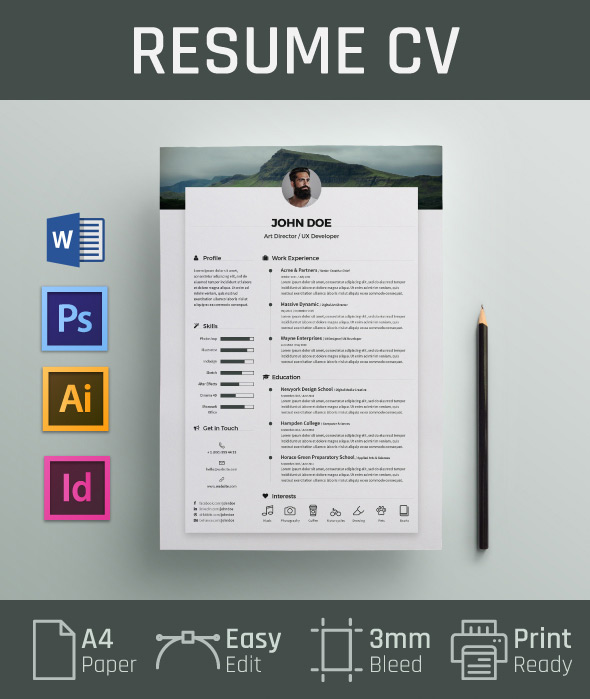 Free Resume CV Design Template & Cover Letter In DOC, PSD, AI & INDD (1)