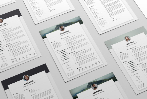free resume cv design template cover letter in doc psd